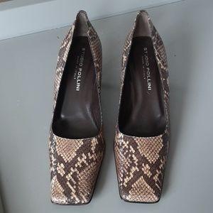 STUDIO POLLINI Snake Skin Square Toe Leather SHOES